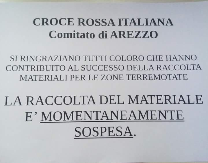 Emergenza - Terromoto - Centro Italia - Raccolta dei materiali momentaneamente sospesa