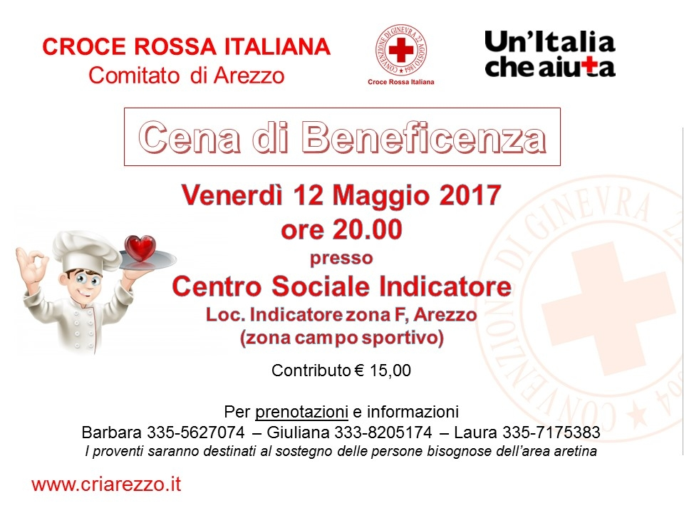 Cena di beneficenza 12 maggio 2017 Centro Sociale Indicatore